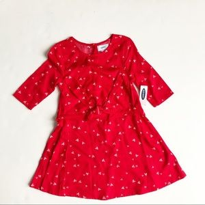 Old Navy NWT red heart print front tie dress 4T